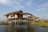 Houses Built on Stilts in the Village of Nampan on the Edge of Inle Lake
