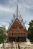 Construction of Traditional Style Batak House with Bamboo Scaffolding
