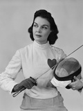 Portrait Brunette Woman with Fencing Gear Helmet Epee Vest with Heart