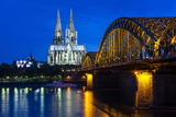 Rhine Bridge and Cathedral of Cologne Above the River Rhine at Night