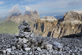 Stone Cairn on Sass Pordoi Mountain in the Dolomites Near Canazei