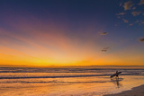Sunset and Surfer at Playa Guiones Beach