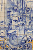 A Blacksmith's Workshop Depicted on Traditional Portuguese Azulejo Tiles on a Building in Alfama