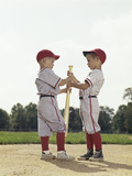 Two Boys Holding Baseball Bat Little League Uniforms