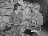 Two Women Talking Shopping Supermarket