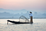 Intha 'Leg Rowing' Fishermen at Sunset on Inle Lake