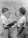 Two Boys Studying Map of Louisiana Purchase