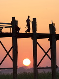Local Man Walking on the Famous U Bein Teak Bridge at Sunset  Near Mandalay  Myanmar (Burma)  Asia
