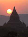 View over the Temples of Bagan at Sunset