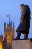 Winston Churchill Statue and the Houses of Parliament at Night