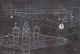 Plane Blueprint I Reproduction d'art par Marco Fabiano