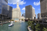 Chicago River Walk Follows the Riverside Along East Wacker Drive