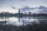 Salisbury Cathedral at Dawn Reflected in the Flooded West Harnham Water Meadows