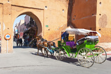 Tourists in Marrakech Enjoying a Horse and Cart Ride around the Old Medina