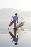 Intha 'Leg Rowing' Fishermen at Sunset on Inle Lake