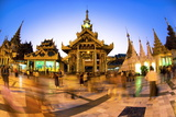 Fisheye Shot at Night of Temples at Shwedagon Paya (Pagoda)