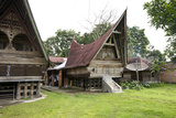 Batak Toba Tribal Rural Village Houses on Samosir Island in Lake Toba