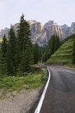 Mountain Road and the Sassolungo Mountains in the Dolomites Near Canazei