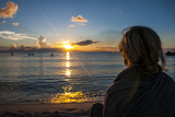 Woman Watching the Sunset in Guam  Us Territory  Central Pacific  Pacific
