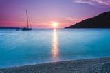 Adriatic Sea Off Zlatni Rat Beach at Sunset  Bol  Brac Island  Dalmatian Coast  Croatia  Europe