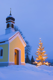 Chapel with Christmas Tree in Winter Near Krun  Garmisch-Partenkirchen  Bavaria  Germany  Europe