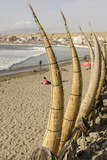 Caballitos De Totora or Reed Boats on the Beach in Huanchaco  Peru  South America