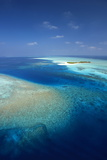 Aerial View of Tropical Island and Lagoon  Maldives  Indian Ocean  Asia