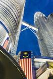 Petronas Towers and Malaysian National Flag  Kuala Lumpur  Malaysia  Southeast Asia  Asia