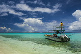 Little Motor Boat in the Turquoise Waters of the Ant Atoll  Pohnpei  Micronesia  Pacific