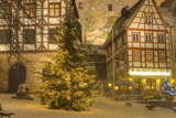Christmas Tree Lit Up at Night in the Historic Center of Nuremberg  Germany  Europe