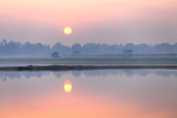 Sunrise over Taungthaman Lake and U Bein Bridge  Amarapura  Near Mandalay  Myanmar (Burma)  Asia