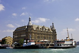 Boat in Front of Haydarpasa Terminus Railway Station  Istanbul  Turkey  Europe  Eurasia