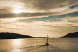 Sailing Boat at Sunset on the Dalmatian Coast  Adriatic  Croatia  Europe