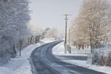 A Snow Covered Road Near to Villefranche-Sur-Cher  Loir-Et-Cher  Centre  France  Europe