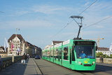 City Center Trams  Basel  Switzerland  Europe