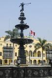 Municipal Palace of Lima and Fountain  Plaza De Armas  Lima  Peru  South America