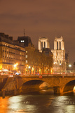 The Ile De La Cite and Notre Dame Cathedral at Night  Paris  France  Europe