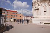 Tourists Walking by the Basilica Notre Dame De Fourviere  Lyon  Rhone-Alpes  France  Europe