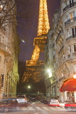 The Iconic Eiffel Tower Lit Up at Dusk in Central Paris  France  Europe