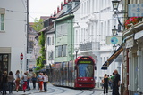 Tram in Old Town Freiburg  Baden-Wurttemberg  Germany  Europe
