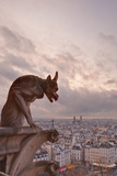 A Gargoyle on Notre Dame De Paris Cathedral Looks over the City  Paris  France  Europe