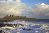 Surf on Rocks  Dunstanburgh Castle  Northumberland  England  United Kingdom  Europe