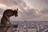 A Gargoyle on Notre Dame De Paris Cathedral Looks over the City  Paris  France  Europe