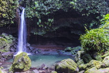 Waterfall Splashing in the Emerald Pool in Dominica  West Indies  Caribbean  Central America