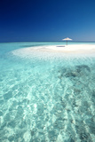 Tropical Sandbank and Sun Umbrella  Maldives  Indian Ocean  Asia
