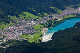 Auronzo Village and Lake in the Belluno Dolomites  Italy  Europe