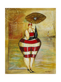 Vintage Beach Girl Red Stripes