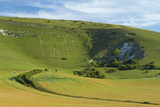 Wilmington Long Man Chalk Figure Cut into Wilmington Hillside in the 16th Century  South Downs  UK