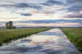 Sunrise with Reflection of Clouds  King's Sedgemoor Drain  Greylake  Somerset Levels  England  UK