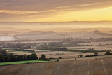 Dawn Mist and Rolling Chalk Downland  Wilmington Hill  Wilmington  South Downs Np  East Sussex  UK